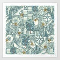 hexagon city Art Print