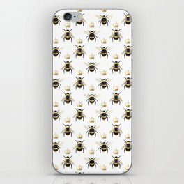 Gold Queen bee / girl power bumble bee pattern iPhone Skin