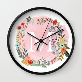 Flower Wreath with Personalized Monogram Initial Letter M on Pink Watercolor Paper Texture Artwork Wall Clock