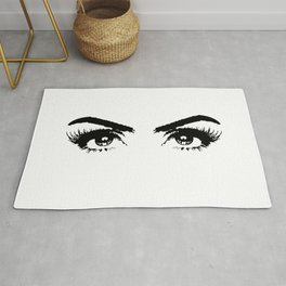 Sexy Black & White Eyes Girls Bedroom Eyelashes Makeup Art Rug