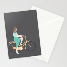 Girl on a bike Stationery Cards