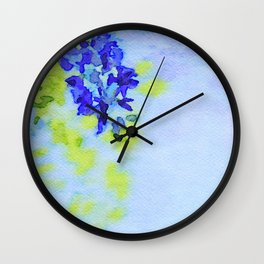 Watercolor of Spring background with blooming wisteria. Beautiful pink flowers Wall Clock