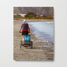 Cycling On The Foreshore Metal Print