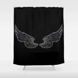 Black Angel Wings Shower Curtain