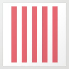 Light carmine pink - solid color - white vertical lines pattern Art Print