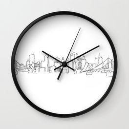 Pittsburgh Skyline Drawing Wall Clock