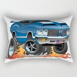 Classic Seventies American Muscle Car Hot Rod Cartoon Illustration Rectangular Pillow