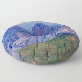 rocky mountain and cloudy sky Floor Pillow