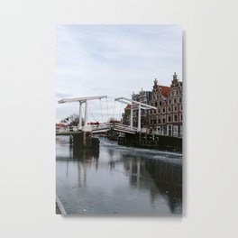 Spaarne canal bridge and canal houses during winter | Frozen canal in Haarlem, Noord-Holland, Netherlands | Architecture fine art Metal Print