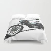 honda Duvet Covers featuring Honda XL250 Vintage Motorcycle Artwork by Ernie Young
