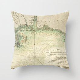 Map of Louisiana and Florida Gulf Coast (1778) Throw Pillow