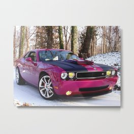 Fuchsia Panther Pink Limited Edition Hurst Challenger RT Metal Print