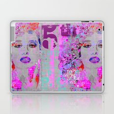 Flower Girl mixed media art grey pink Laptop & iPad Skin