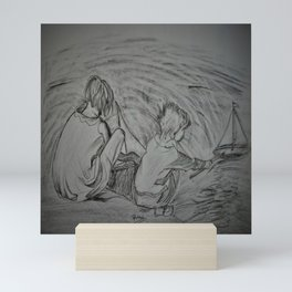 Kids Playing with paper boat Mini Art Print