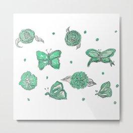 Butterfly flutterby green Metal Print