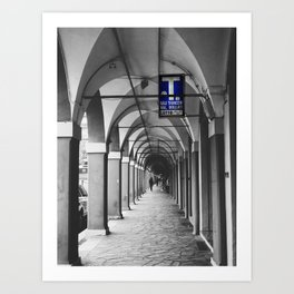 Blue Tabacchi Street Photography in Bologna Art Print