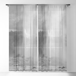 Old Faithful in Black and White Sheer Curtain