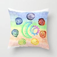 om Throw Pillows featuring OM by Sara Eshak