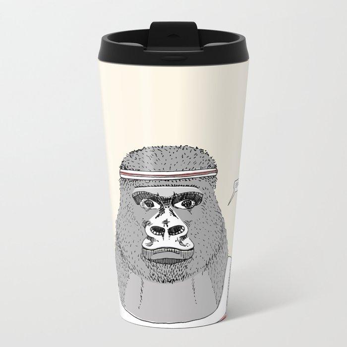 Gorillas love exercise Metal Travel Mug