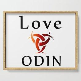 Love Odin- symbol of the horns of Odin, a satanist symbol Serving Tray