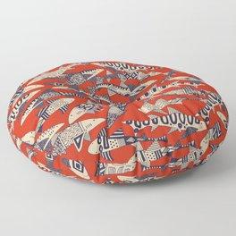 shark party red Floor Pillow