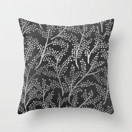 Silver Branches Throw Pillow