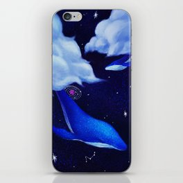 Mysterious Fly Dolphin Dawing iPhone Skin