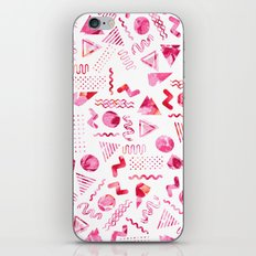 Geometric retro 80's pink hand painted watercolor abstract iPhone Skin