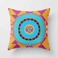 art deco Throw Pillows featuring Deco Art by MadTee