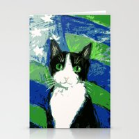 seahawks Stationery Cards featuring 12th Cat with Stars and Stripes by Kazumi