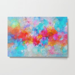 Cloudy Abstract Painting- Colorful Art Metal Print