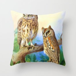 Little Owl and Scops Owl - Digital Remastered Edition Throw Pillow
