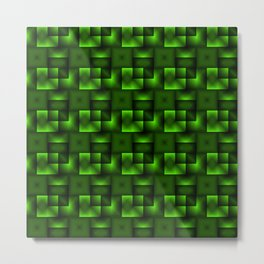 Cubes of green rhombuses and black strict triangles. Metal Print