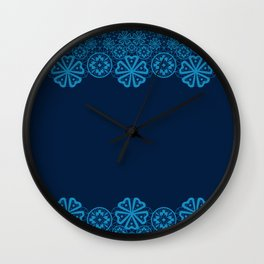 Retro .Vintage . Blue lace on a dark blue background . Wall Clock