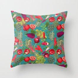 Colorful Veggie scramble Throw Pillow