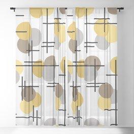 Atomic Age Molecules 4 Yellow Gold Brown Sheer Curtain