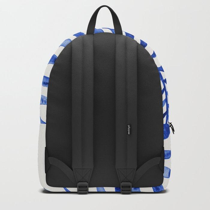 Navy Palm Leaf Backpack