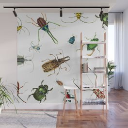 Bug Life - Beetles - Bugs - Insects - Colorful - Insect Pattern Wall Mural