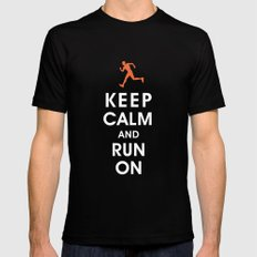 Keep Calm and Run On (male runner) Mens Fitted Tee Black MEDIUM
