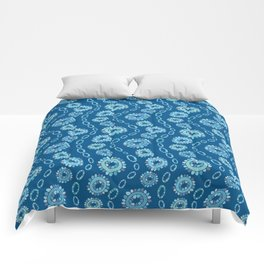 Wavy Toothy Flowers > Blue Comforters