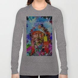 Amerindian Grunge Portrait Long Sleeve T-shirt