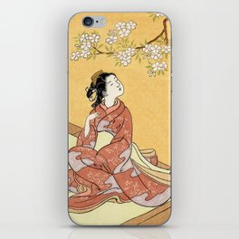 Woman & Cherry Blossoms #2 iPhone Skin