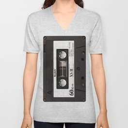 Cassette Tape Black And White #decor #homedecor #society6 Unisex V-Neck
