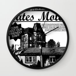 Bates Motel Advertisement - Black Type Wall Clock