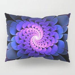 Spiraling Flower Fractal in Blue and Purple Pillow Sham