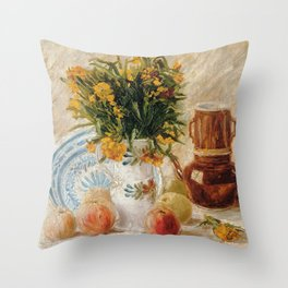 Vincent van Gogh – Vase with Flowers, Coffeepot and Fruit Throw Pillow