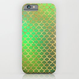 Luxurious Greens and Gold Mermaid Scale Pattern iPhone Case