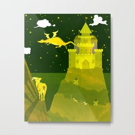 Fantasy castle on a green - yellow night Metal Print