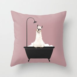 Llama in Bathtub Throw Pillow