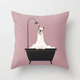 Llama in Bathtub Throw Pillow